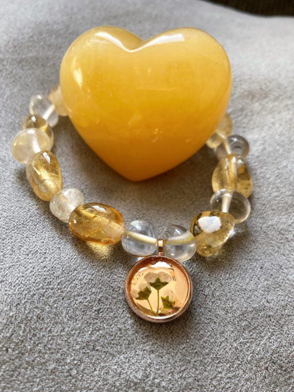 Set: Edelsteinarmband Citrin und Bergkristall mit Blütenanhänger + Orangencalzit Herz - Selbstliebe 2 SanjaNatur