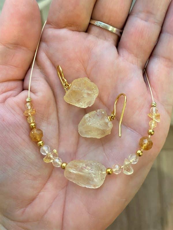 Set: Heilsteinkette Citrin mit Bergkristall und passenden Ohrhängern - Selbstvertrauen und Mitte 1 SanjaNatur