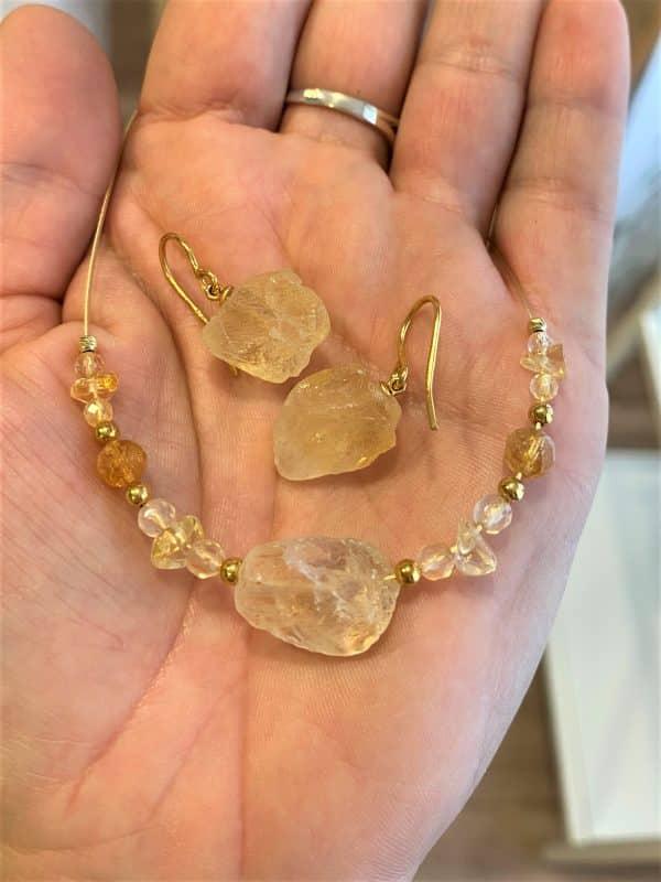 Set: Heilsteinkette Citrin mit Bergkristall und passenden Ohrhängern - Selbstvertrauen und Mitte 2 SanjaNatur