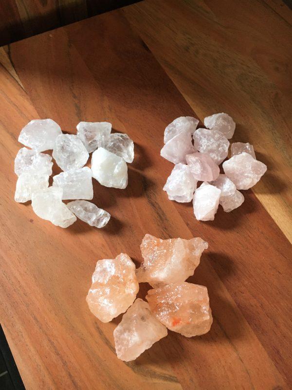 Edelstein Filzlampe 015 - rosa glanzfein weiß mit Bergkristall und Rosenquarz 12 SanjaNatur