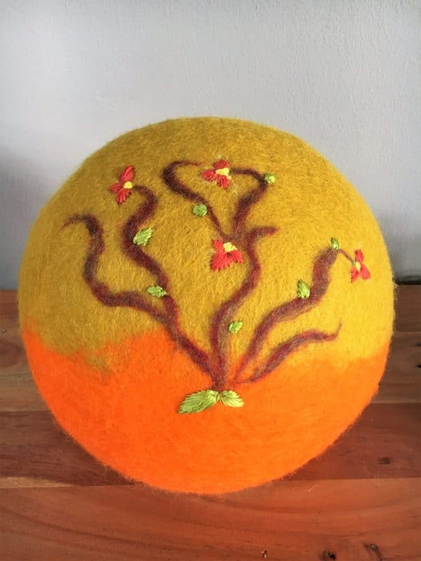 Filzlampe Ø27cm Blumendesign 016 -  Feng Shui - gelb orange 4 SanjaNatur