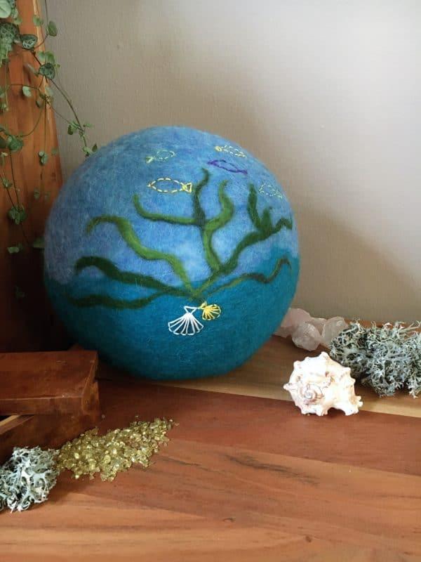 Filzlampe Ø27cm Meeresdesign 017 -  unter dem Meer 3 SanjaNatur