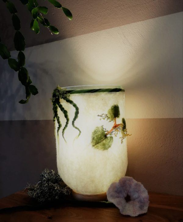 Filzlampe 022 mit echten Blüten - Eukalyptus Inspiration 3 SanjaNatur