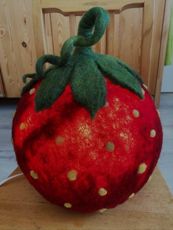 "Filzlampe Ø27cm 046 - Erdbeere ""Erdbert"" 7 SanjaNatur"