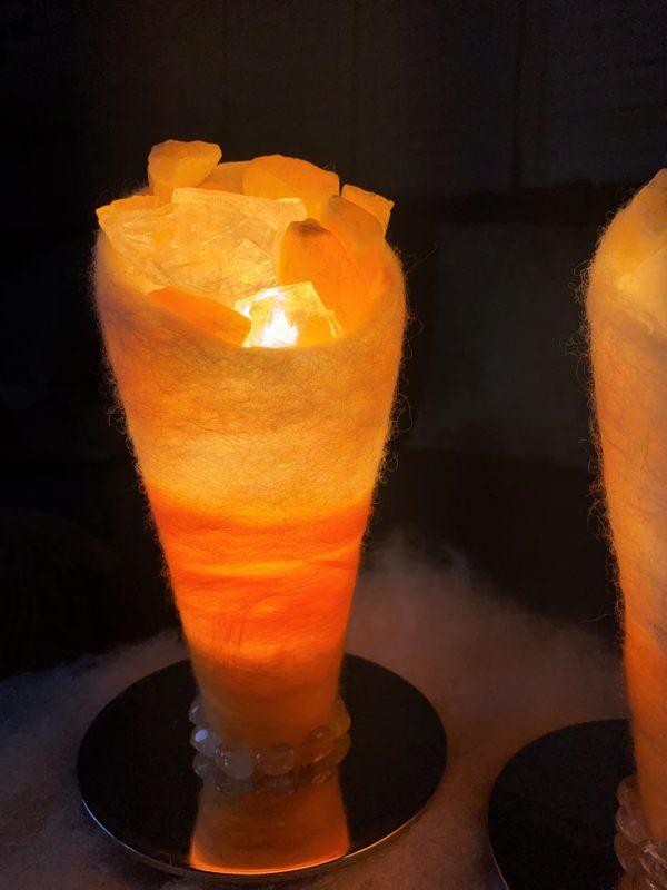 Set: Edelstein Filzlampen 053 - gelb-orange mit Orangencalzit, Bergktistall und Citrin 3 SanjaNatur