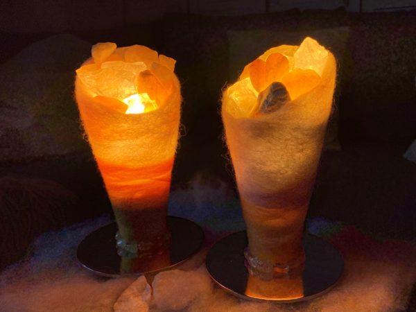 Set: Edelstein Filzlampen 053 - gelb-orange mit Orangencalzit, Bergktistall und Citrin 2 SanjaNatur