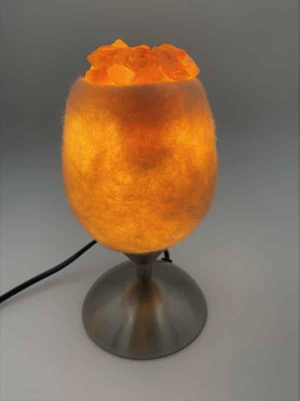 Edelstein Filzlampe 079 - creme/weiß mit Citrin, Orangencalzit und Bergkristall 3 SanjaNatur
