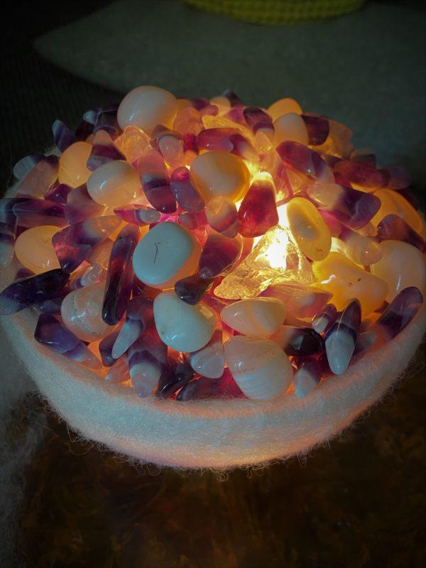 Edelstein Filzlampe 071 - Amethyst, Bergkristall mit weißem Achat - Harmonie & Schutz 4 SanjaNatur