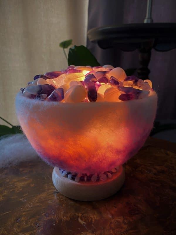 Edelstein Filzlampe 071 - Amethyst, Bergkristall mit weißem Achat - Harmonie & Schutz 5 SanjaNatur