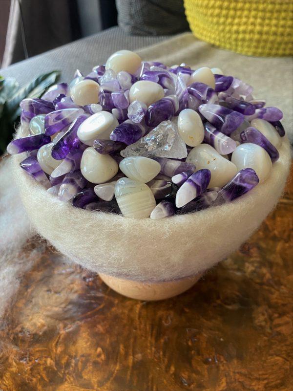 Edelstein Filzlampe 071 - Amethyst, Bergkristall mit weißem Achat - Harmonie & Schutz 7 SanjaNatur