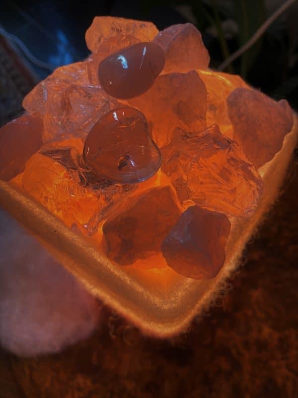 Edelstein Filzlampe 075 - Rosenquarz mit Bergkristall und Salzkristall - Vertrauen und Liebe 3 SanjaNatur