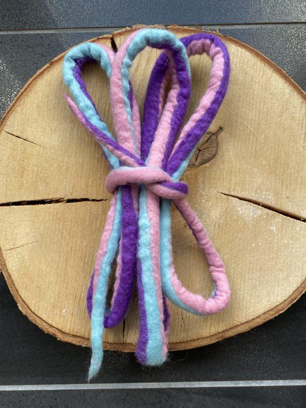 Set: Filzschnüre Ø 1,5 cm 012 - Einhorn mit farblich passenden Schneckenband 6 SanjaNatur