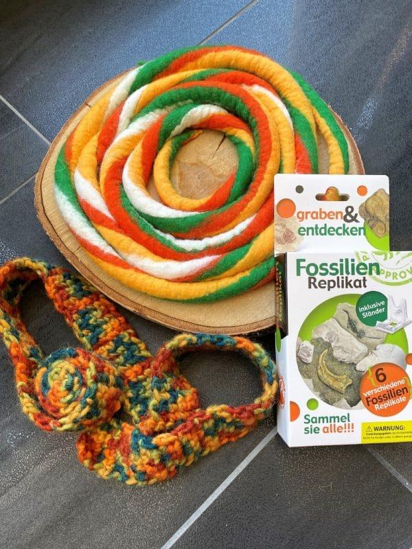 Set: Entdecker Filzschnüre mit passenden Schneckenband und Fossilien Replikat nach Wahl 3 SanjaNatur