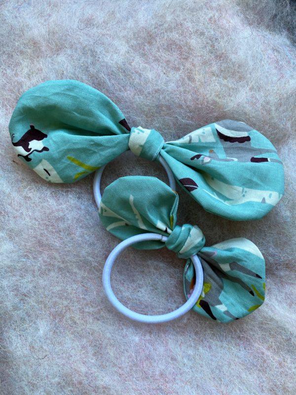 Set: Schleifen Haargummi - türkis-blauer Wald aus Bio Baumwolle 1 SanjaNatur