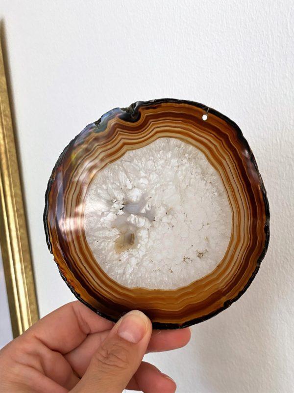 Achatscheibe Seelenfrieden 016 mit Prisma Regenbogenkristall 6 SanjaNatur