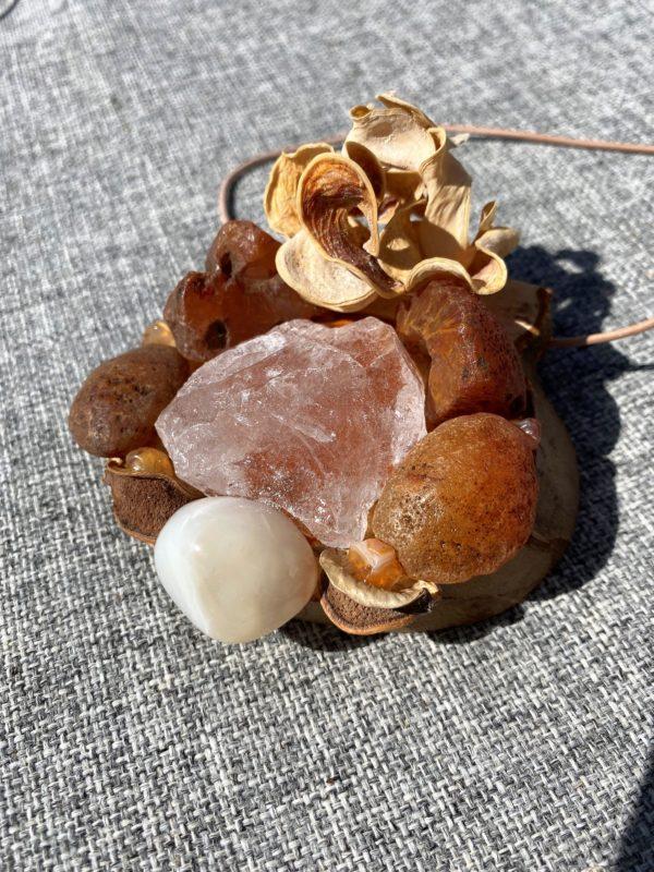 Tisch -Wand- Amulett Schwangerschaft  02 mit Carneol, weißem Achat und Bergkristall 2 SanjaNatur