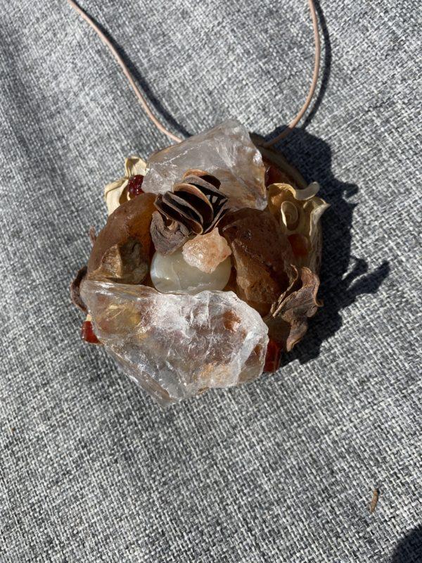 Tisch -Wand- Amulett Schwangerschaft 01 mit Carneol, weißem Achat und Bergkristall 2 SanjaNatur