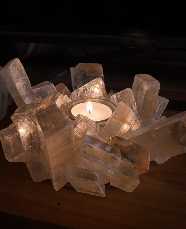 Teelicht Honigcalzit - leuchtende Kristalle 3 SanjaNatur