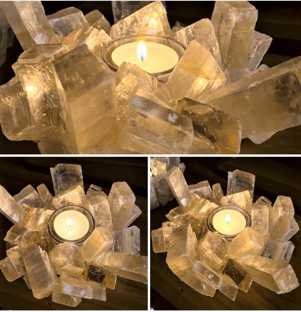 Teelicht Honigcalzit - leuchtende Kristalle 1 SanjaNatur