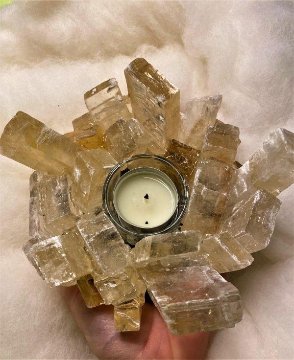 Teelicht Honigcalzit - leuchtende Kristalle 2 SanjaNatur