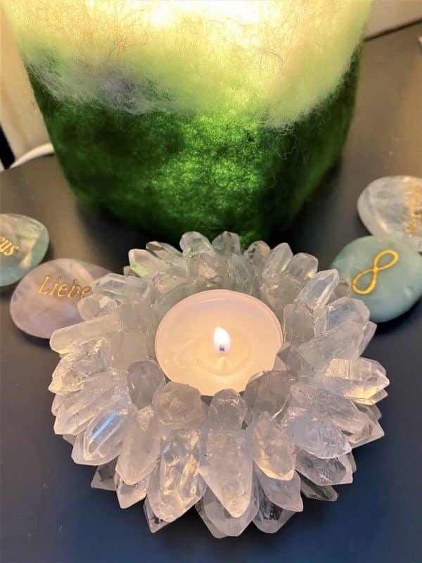 """Teelicht """"Sonne"""" Bergkristall - leuchtende Klarheit 7 SanjaNatur"""