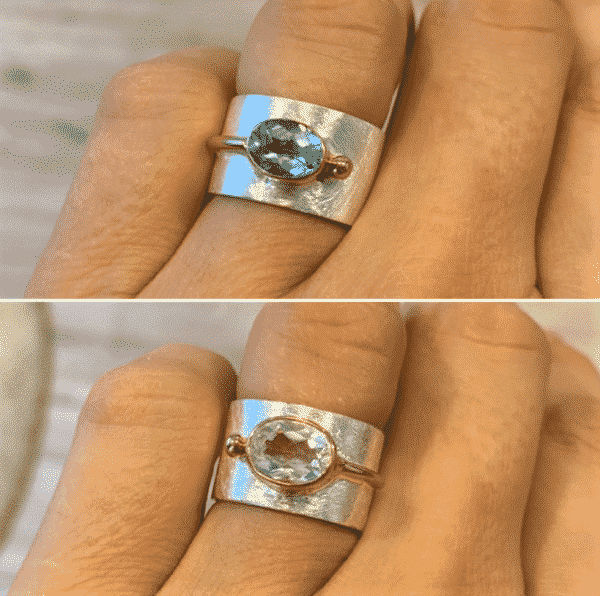 Ring Topas weiß oder blau - Silber mit Gold 1 SanjaNatur