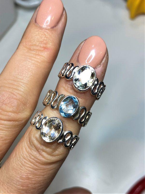 Ring Topas weiß oder blau - Silber 1 SanjaNatur