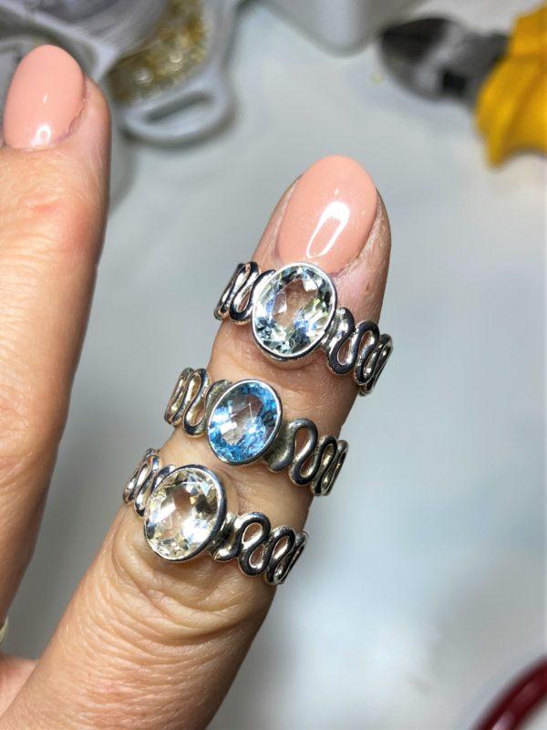 Ring Topas weiß oder blau - Silber 2 SanjaNatur