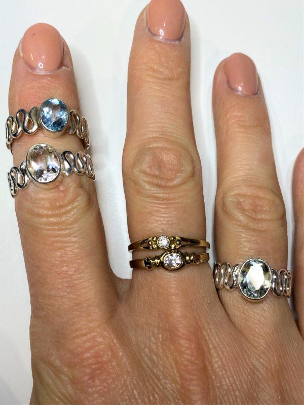 Ring Topas weiß oder blau - Silber 3 SanjaNatur