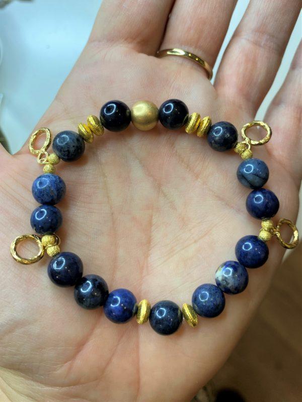 Edelsteinarmband Dumortierit - Gold - Gelassenheit 1 SanjaNatur