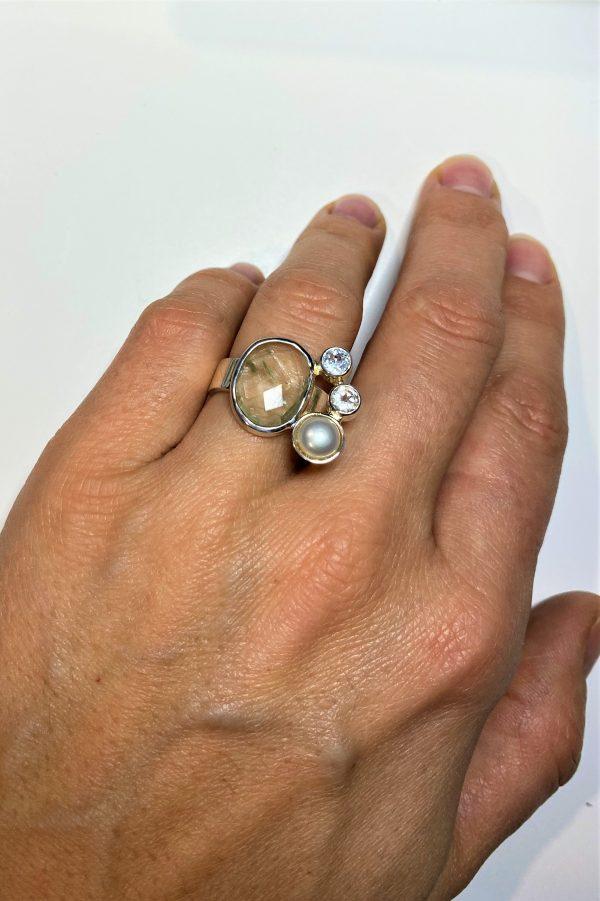 Edelstein Ring: Prasiolith, Topas, Perle, Gr. 55 -Weiblichkeit, Schönheit, Eleganz 2 SanjaNatur