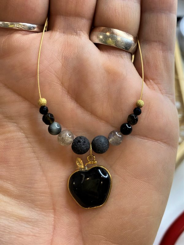 Edelstein-Kette Obsidian Apfel mit Lava und Turmalin - Schutz und Stabilität 4 SanjaNatur