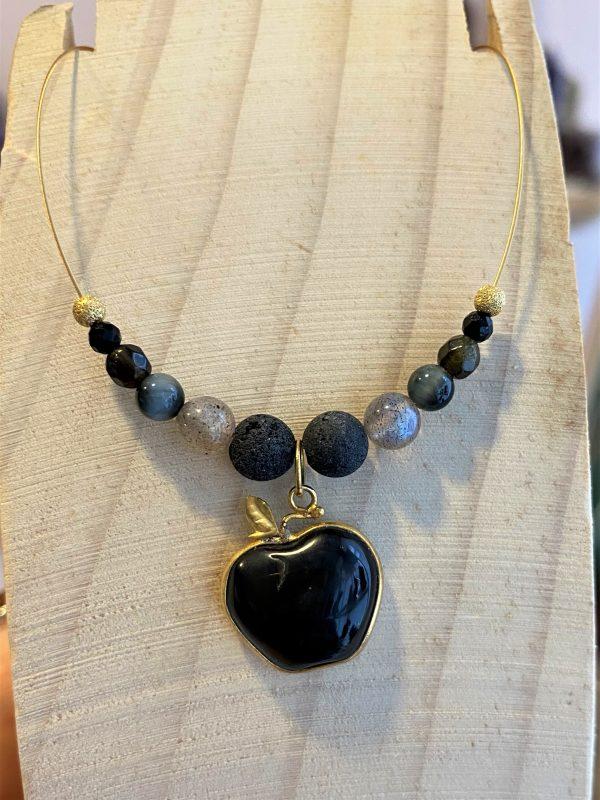 Edelstein-Kette Obsidian Apfel mit Lava und Turmalin - Schutz und Stabilität 2 SanjaNatur