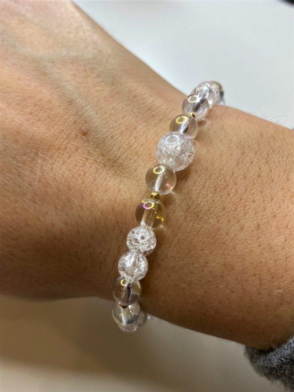 Edelsteinarmband Angel Aura mit Bergkristall - goldenes Bergkristall Herz 4 SanjaNatur
