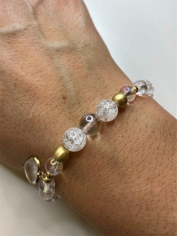 Edelsteinarmband Angel Aura mit Bergkristall - goldenes Bergkristall Herz 5 SanjaNatur