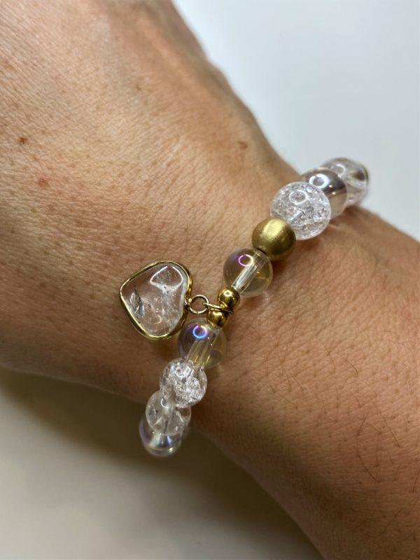 Edelsteinarmband Angel Aura mit Bergkristall - goldenes Bergkristall Herz 1 SanjaNatur