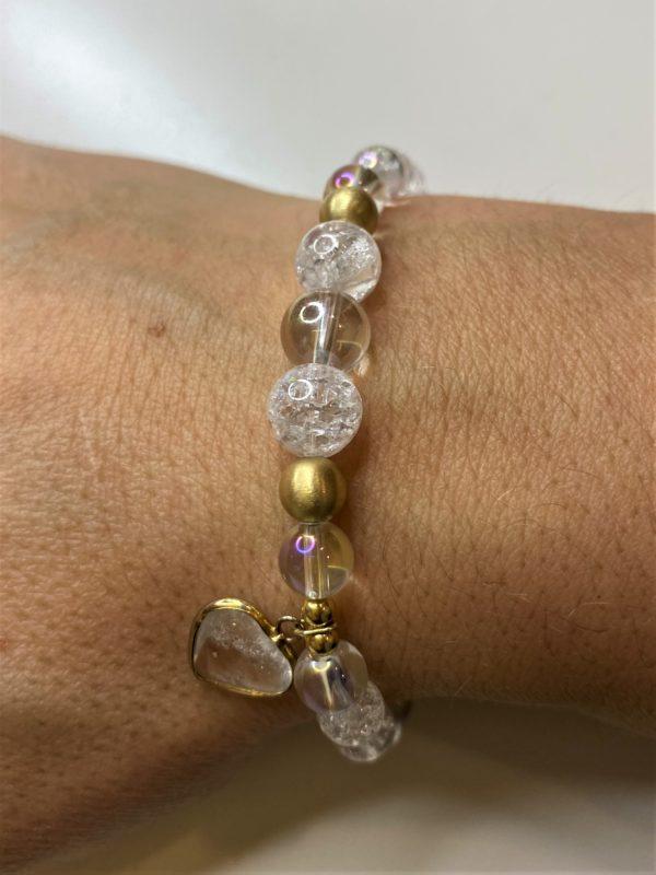 Edelsteinarmband Angel Aura mit Bergkristall - goldenes Bergkristall Herz 6 SanjaNatur
