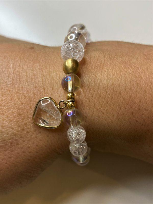 Edelsteinarmband Angel Aura mit Bergkristall - goldenes Bergkristall Herz 7 SanjaNatur