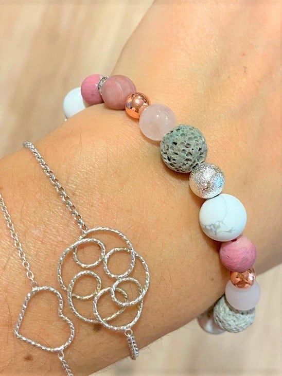 Edelsteinarmband Koralle, Lava, Rosenquarz und Magnesit - Liebe, Schutz, Lebensenergie 4 SanjaNatur