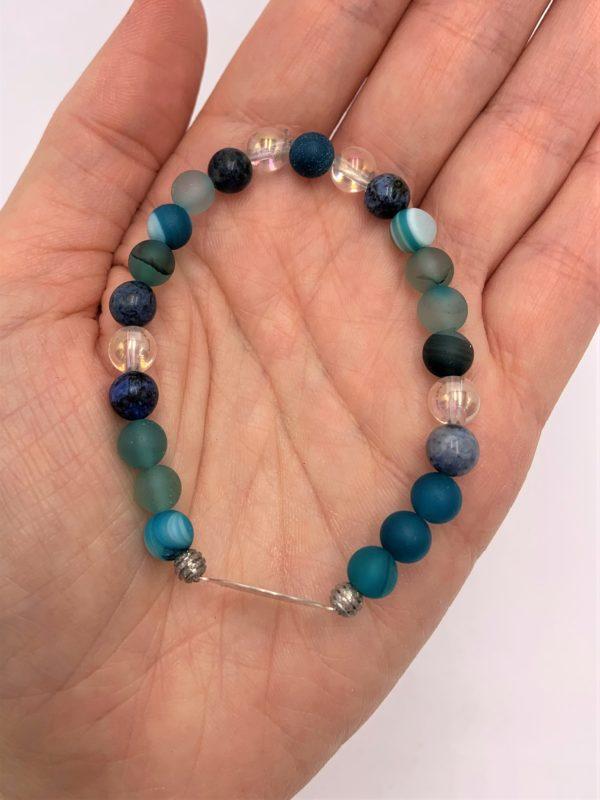 Edelsteinarmband blauer Achat, Angel Aura, Dumortierit,  - Willenskraft, Mut, Klarheit und Energie 2 SanjaNatur