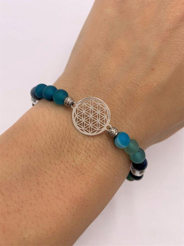 Edelsteinarmband blauer Achat, Angel Aura, Dumortierit,  - Willenskraft, Mut, Klarheit und Energie 1 SanjaNatur