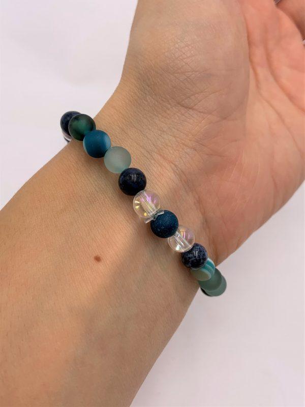 Edelsteinarmband blauer Achat, Angel Aura, Dumortierit,  - Willenskraft, Mut, Klarheit und Energie 3 SanjaNatur