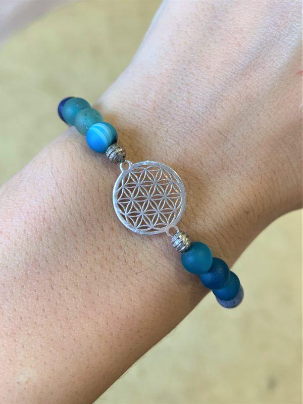 Edelsteinarmband blauer Achat, Angel Aura, Dumortierit,  - Willenskraft, Mut, Klarheit und Energie 4 SanjaNatur