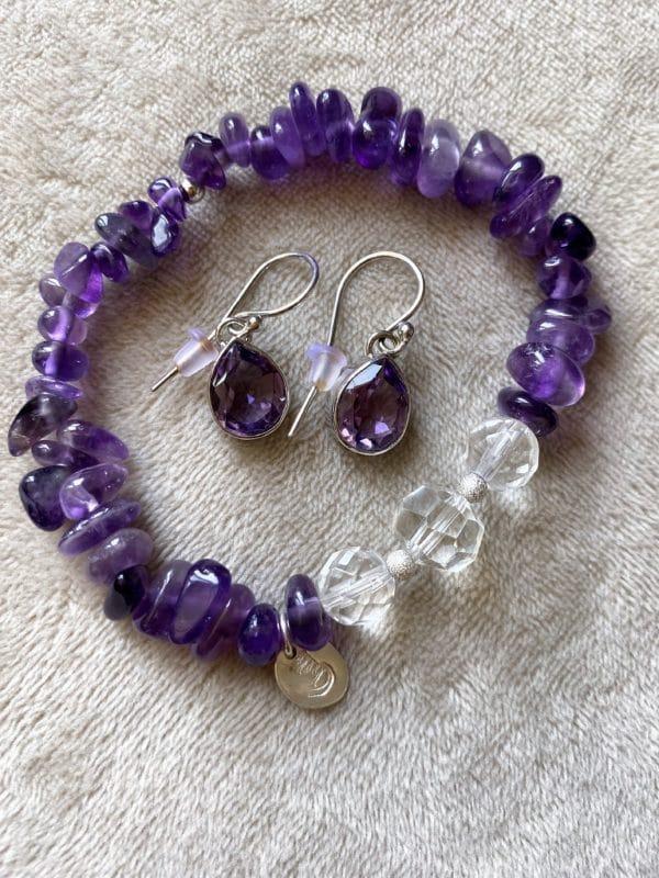 Set: Edelsteinarmband Amethyst mit Bergkristall mit Ohrhänger Amethyst Tropfen - kraftvolle Harmonie 1 SanjaNatur