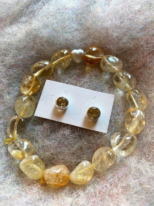 Set - Edelsteinarmband Citrin Silberherz mit passenden Ohrsteckern Citrin - Silber - Selbstvertrauen 1 SanjaNatur
