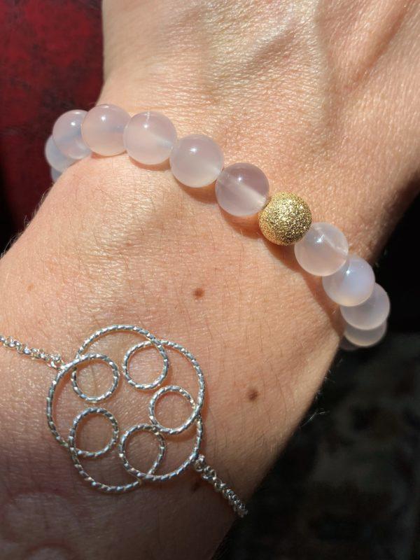 Edelsteinarmband Achat rosa - Gold - Schwangerschaft 3 SanjaNatur