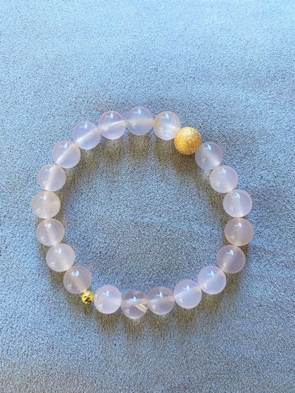 Edelsteinarmband Achat rosa - Gold - Schwangerschaft 1 SanjaNatur