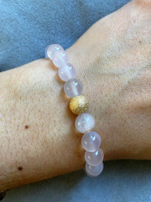 Edelsteinarmband Achat rosa - Gold - Schwangerschaft 4 SanjaNatur