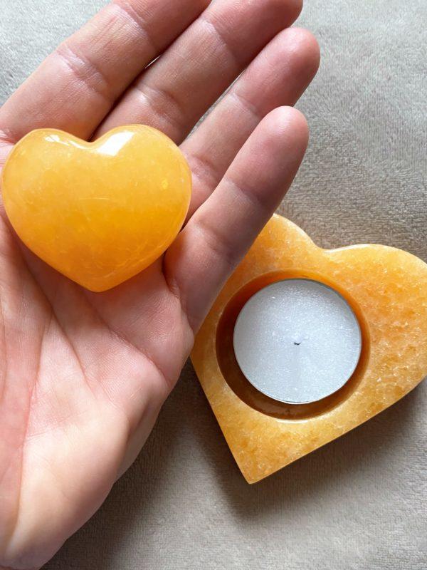 Set: Teelicht Orangencalzit Herz mit Handschmeichler - Selbstliebe und Selbstvertrauen 3 SanjaNatur