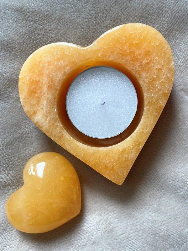 Set: Teelicht Orangencalzit Herz mit Handschmeichler - Selbstliebe und Selbstvertrauen 1 SanjaNatur
